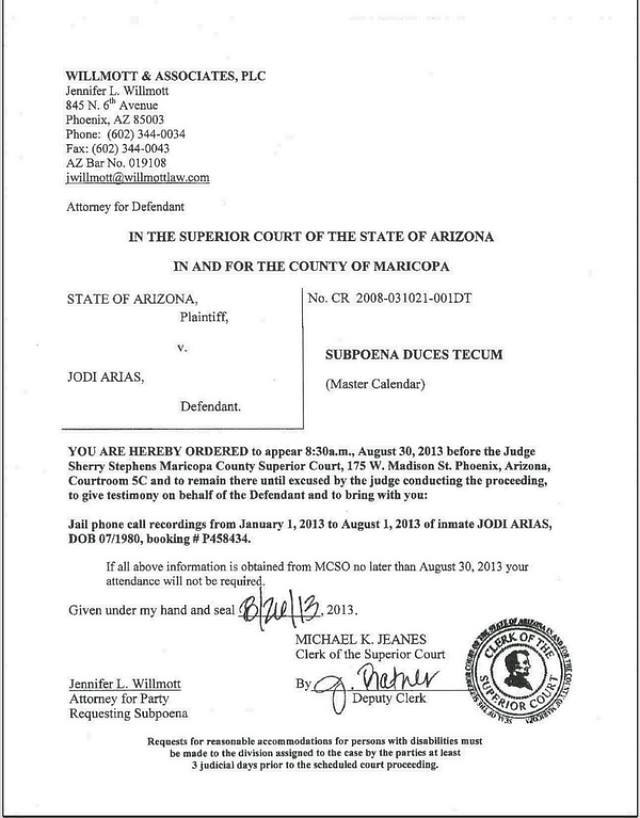most recent filing may be the most interesting. Jodi Arias's defense ...